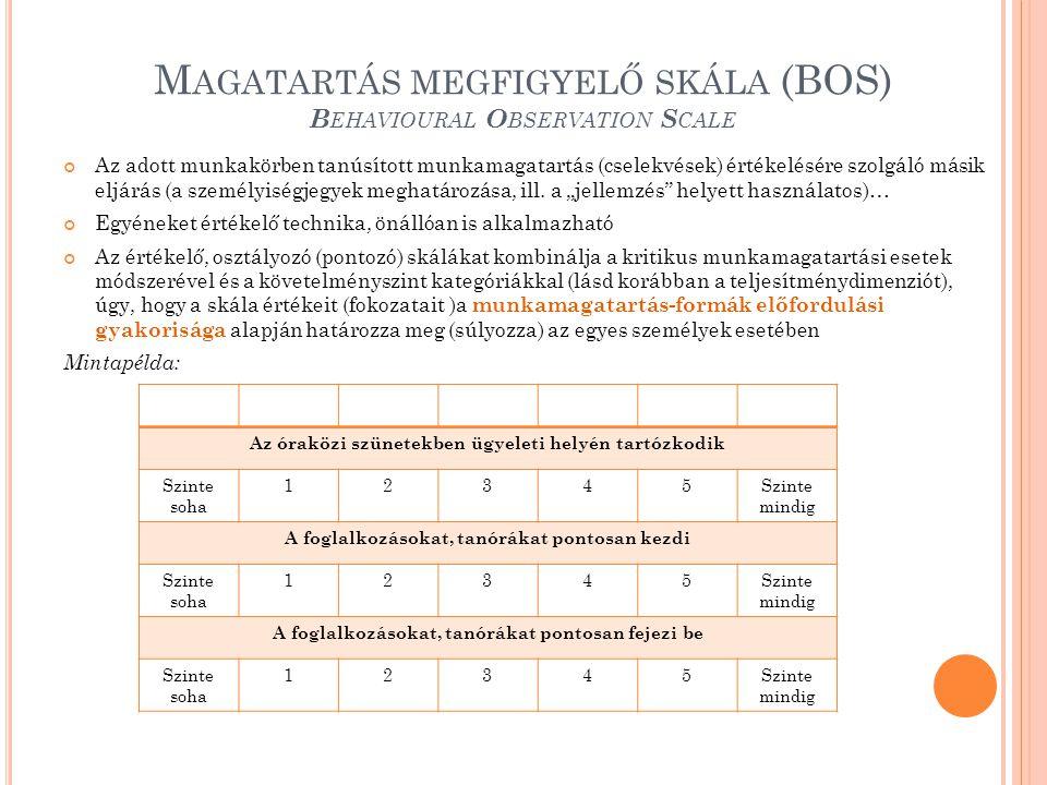 M AGATARTÁS MEGFIGYELŐ SKÁLA (BOS) B EHAVIOURAL O BSERVATION S CALE Az adott munkakörben tanúsított munkamagatartás (cselekvések) értékelésére szolgál