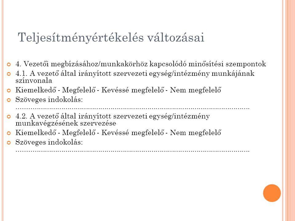Teljesítményértékelés változásai 4. Vezetői megbízásához/munkakörhöz kapcsolódó minősítési szempontok 4.1. A vezető által irányított szervezeti egység