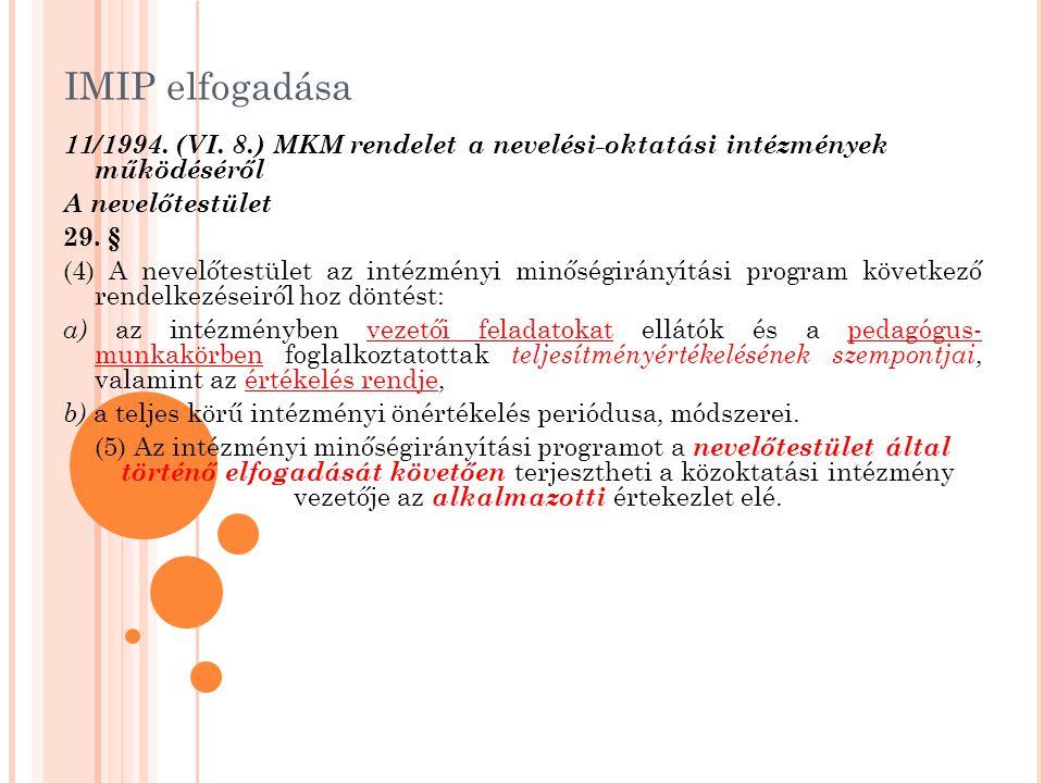 IMIP elfogadása 11/1994. (VI. 8.) MKM rendelet a nevelési-oktatási intézmények működéséről A nevelőtestület 29. § (4) A nevelőtestület az intézményi m