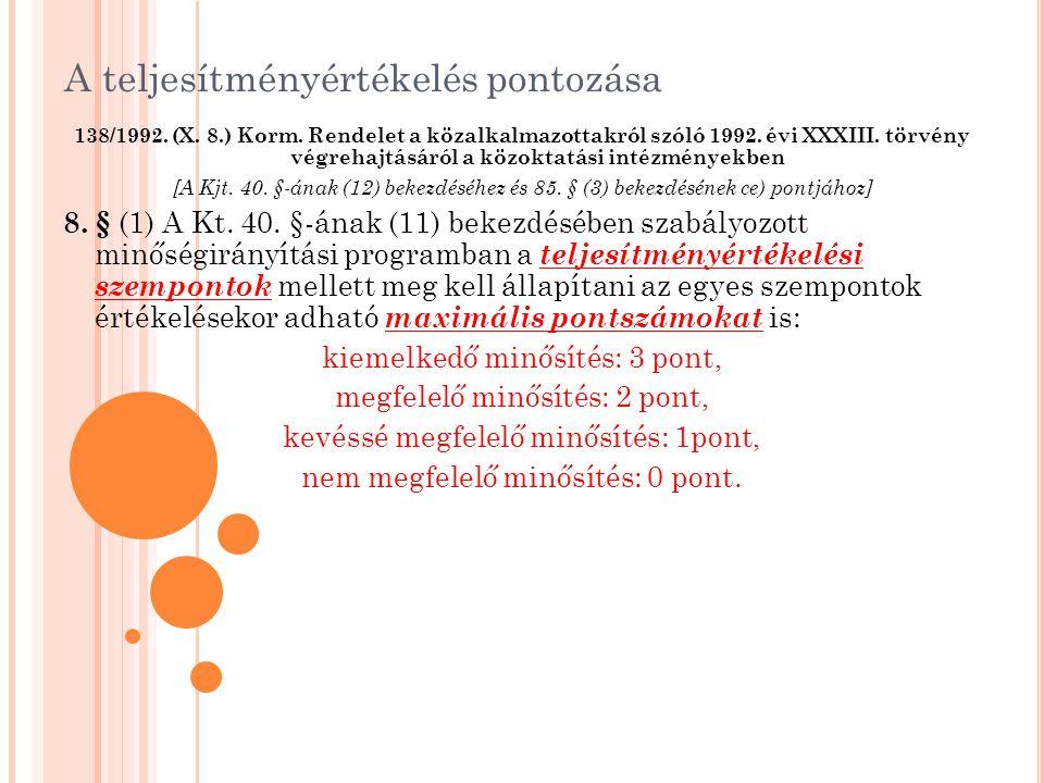 A teljesítményértékelés pontozása 138/1992. (X. 8.) Korm. Rendelet a közalkalmazottakról szóló 1992. évi XXXIII. törvény végrehajtásáról a közoktatási