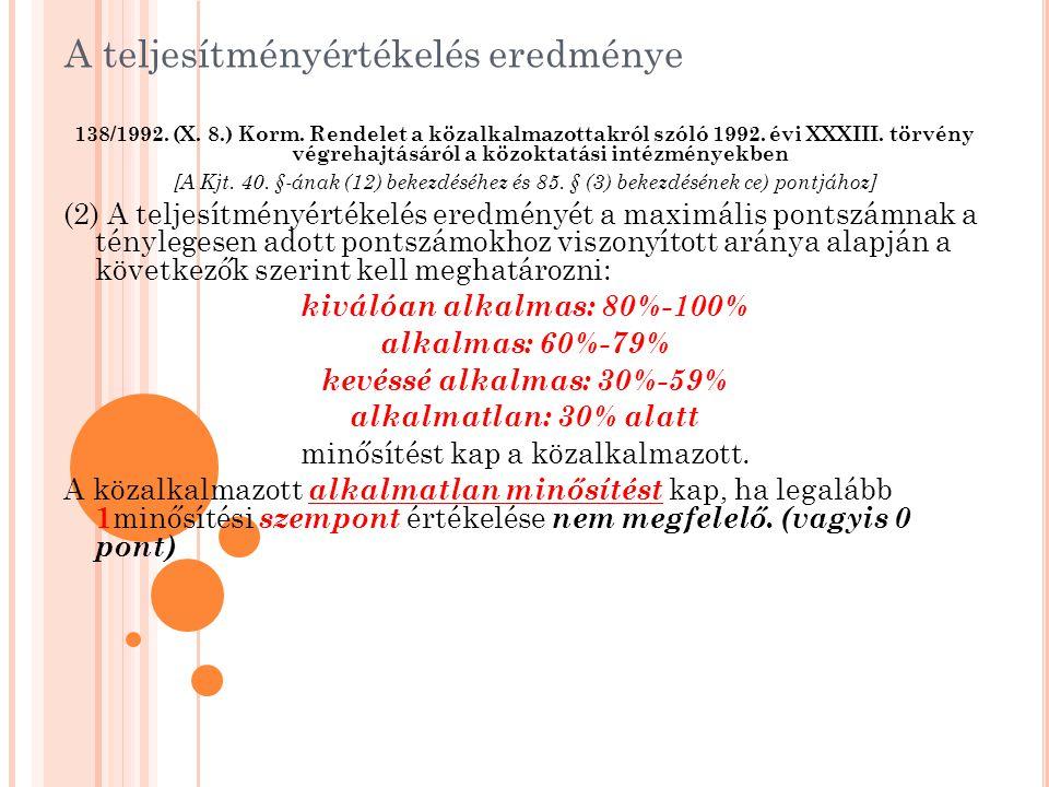 A teljesítményértékelés eredménye 138/1992. (X. 8.) Korm. Rendelet a közalkalmazottakról szóló 1992. évi XXXIII. törvény végrehajtásáról a közoktatási