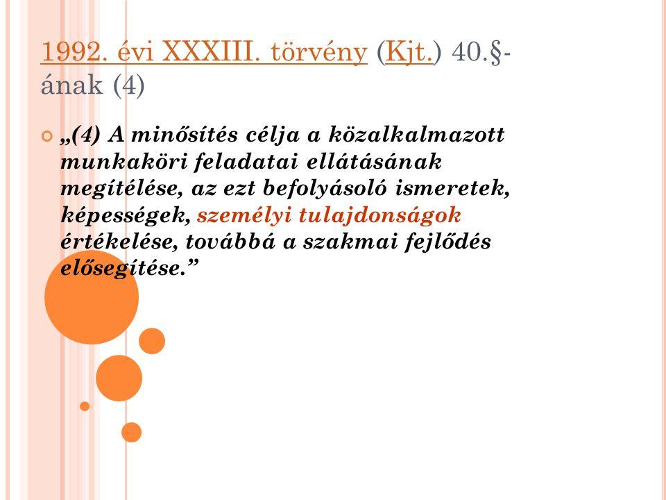 """1992. évi XXXIII. törvény1992. évi XXXIII. törvény (Kjt.) 40.§- ának (4)Kjt. """"(4) A minősítés célja a közalkalmazott munkaköri feladatai ellátásának m"""