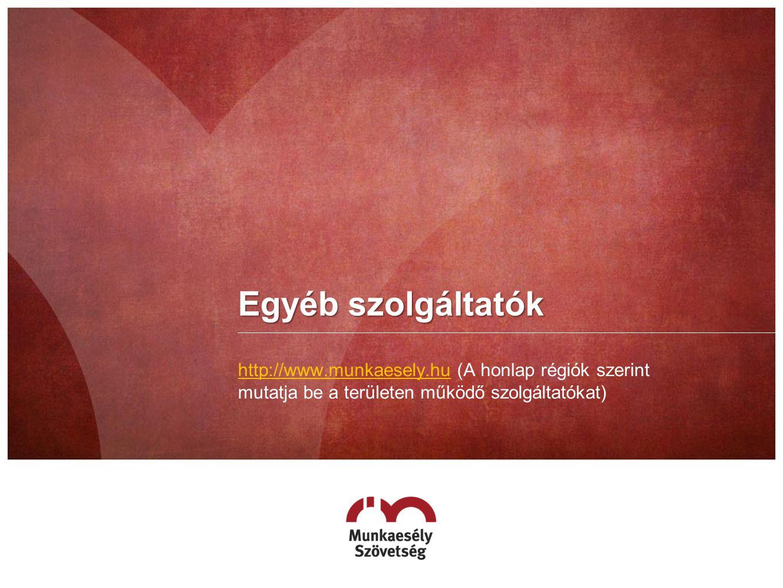 Egyéb szolgáltatók http://www.munkaesely.huhttp://www.munkaesely.hu (A honlap régiók szerint mutatja be a területen működő szolgáltatókat)