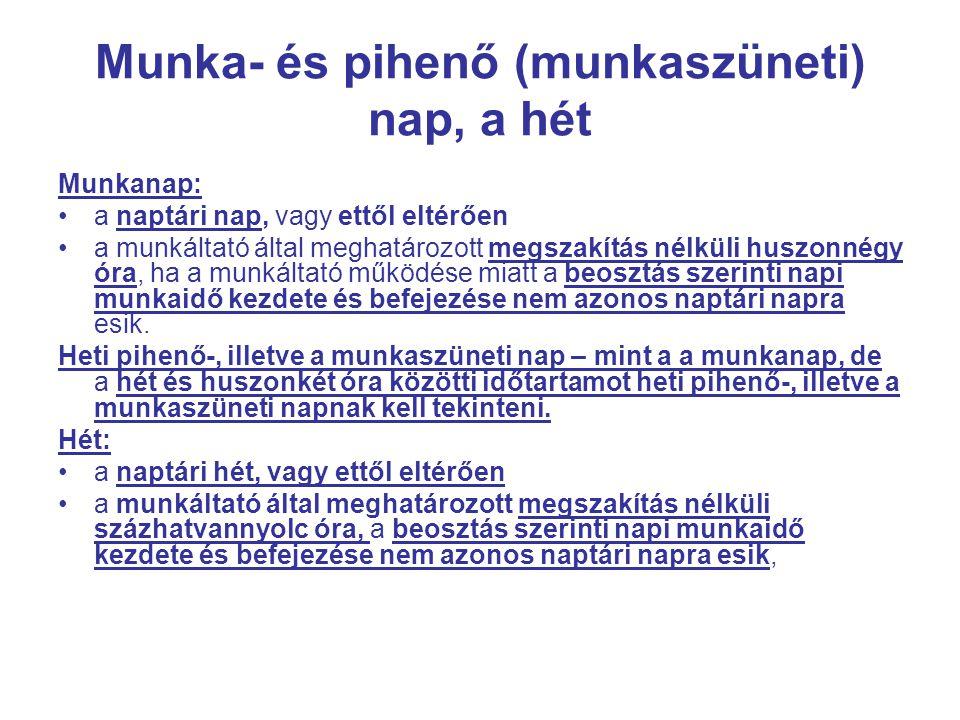 Munka- és pihenő (munkaszüneti) nap, a hét Munkanap: •a naptári nap, vagy ettől eltérően •a munkáltató által meghatározott megszakítás nélküli huszonn