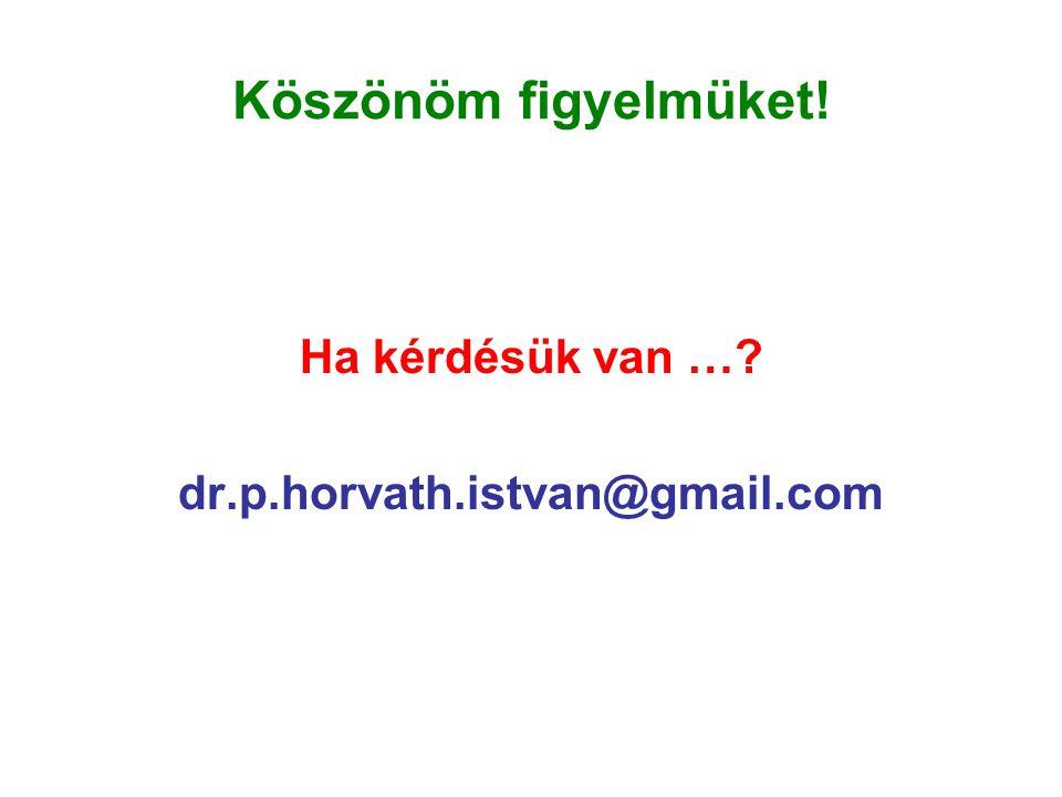 Köszönöm figyelmüket! Ha kérdésük van …? dr.p.horvath.istvan@gmail.com