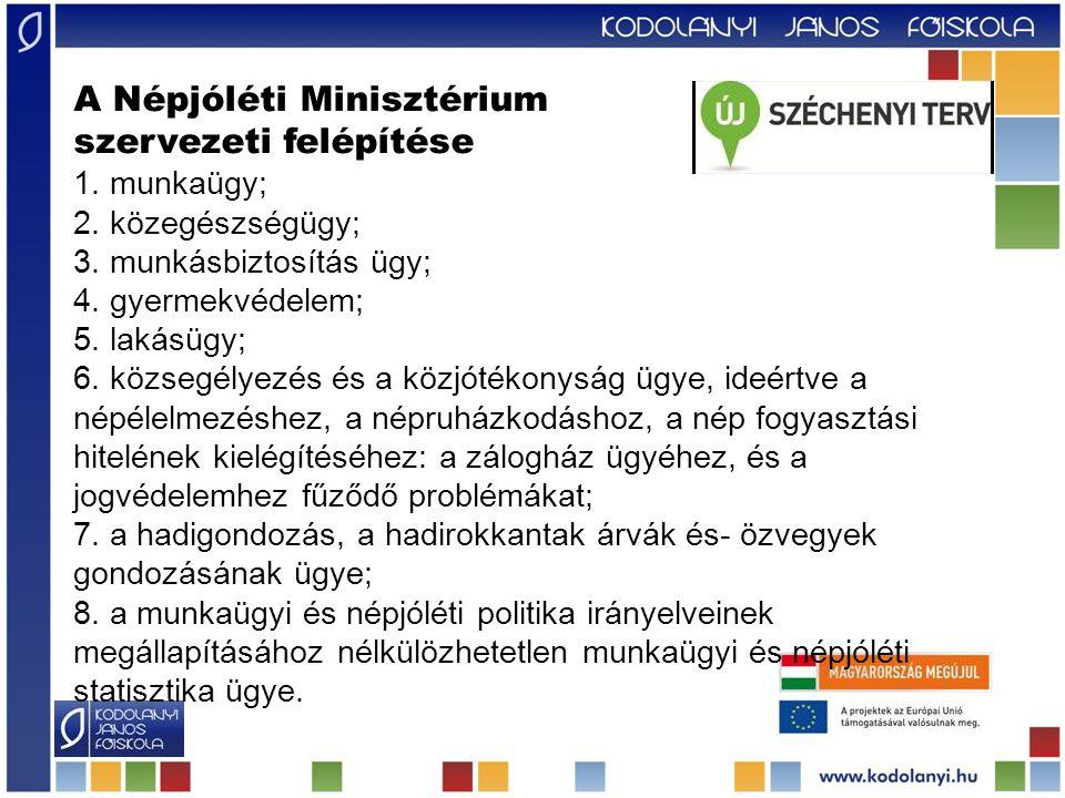 A Népjóléti Minisztérium szervezeti felépítése 1.munkaügy; 2.
