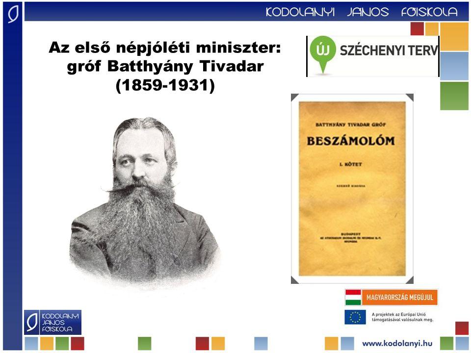 Az első népjóléti miniszter: gróf Batthyány Tivadar (1859-1931)