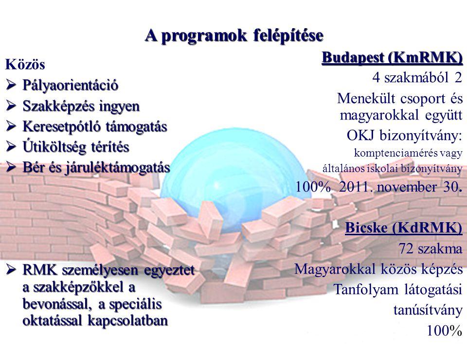 A programokfelépítése A programok felépítése Közös  Pályaorientáció  Szakképzés ingyen  Keresetpótló támogatás  Útiköltség térítés  Bér és járuléktámogatás  RMK személyesen egyeztet a szakképzőkkel a bevonással, a speciális oktatással kapcsolatban Budapest (KmRMK) 4 szakmából 2 Menekült csoport és magyarokkal együtt OKJ bizonyítvány: komptenciamérés vagy általános iskolai bizonyítvány 100% 2011.