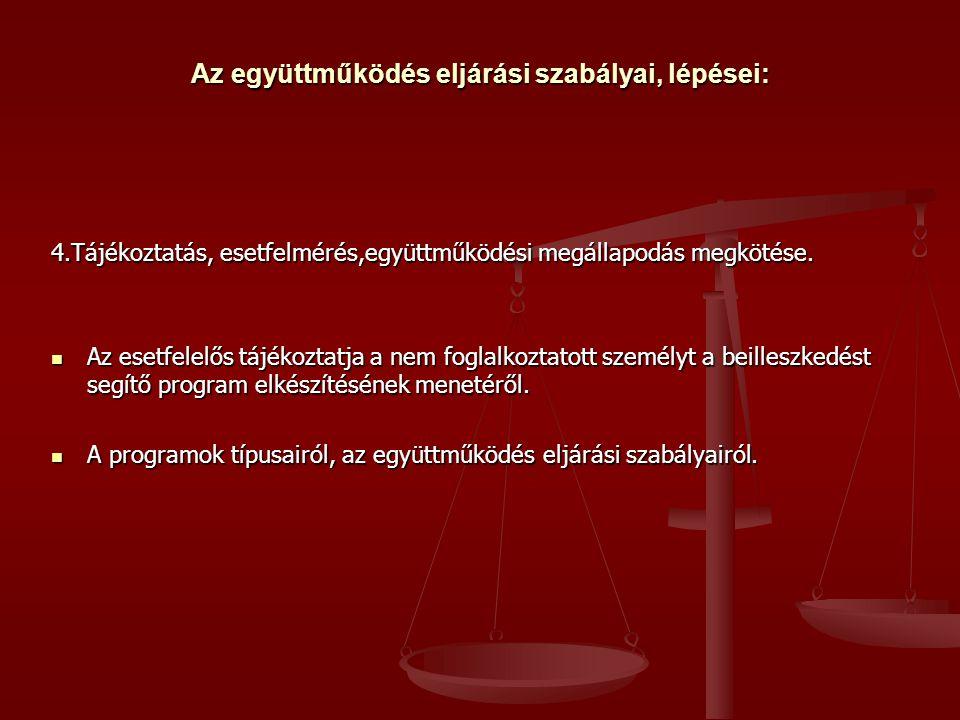 Az együttműködés eljárási szabályai, lépései: 4.Tájékoztatás, esetfelmérés,együttműködési megállapodás megkötése.