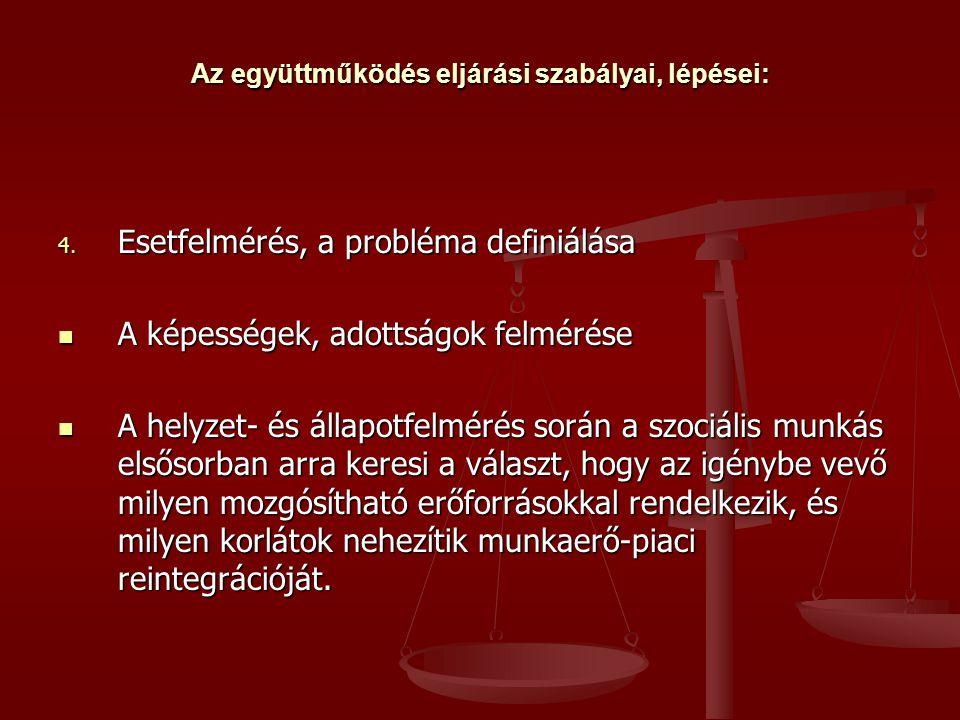 Az együttműködés eljárási szabályai, lépései: 4.