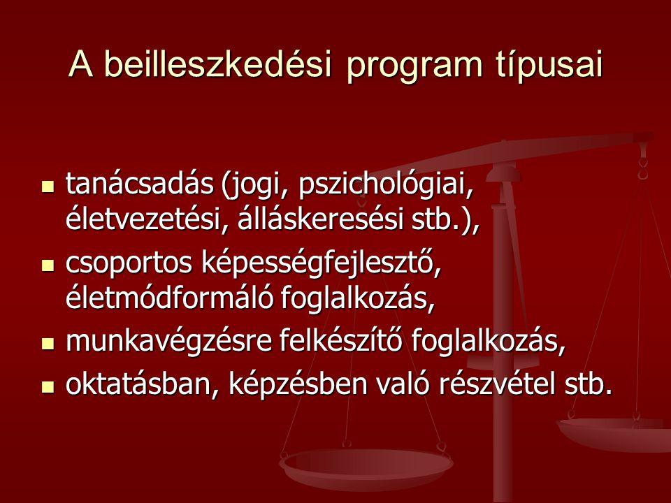 A beilleszkedési program típusai  tanácsadás (jogi, pszichológiai, életvezetési, álláskeresési stb.),  csoportos képességfejlesztő, életmódformáló foglalkozás,  munkavégzésre felkészítő foglalkozás,  oktatásban, képzésben való részvétel stb.