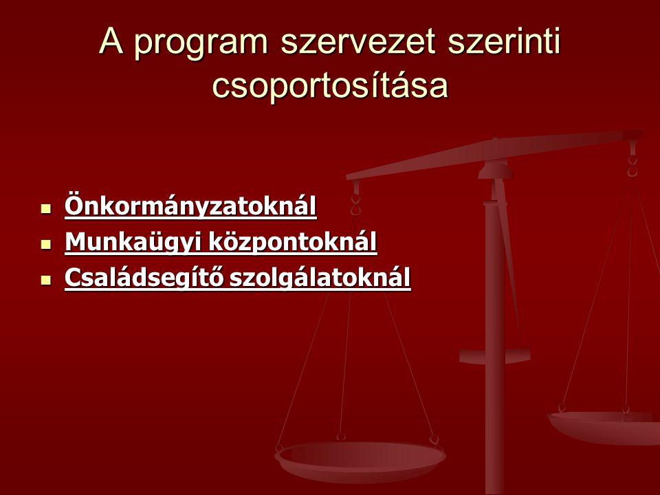 A program szervezet szerinti csoportosítása  Önkormányzatoknál  Munkaügyi központoknál  Családsegítő szolgálatoknál