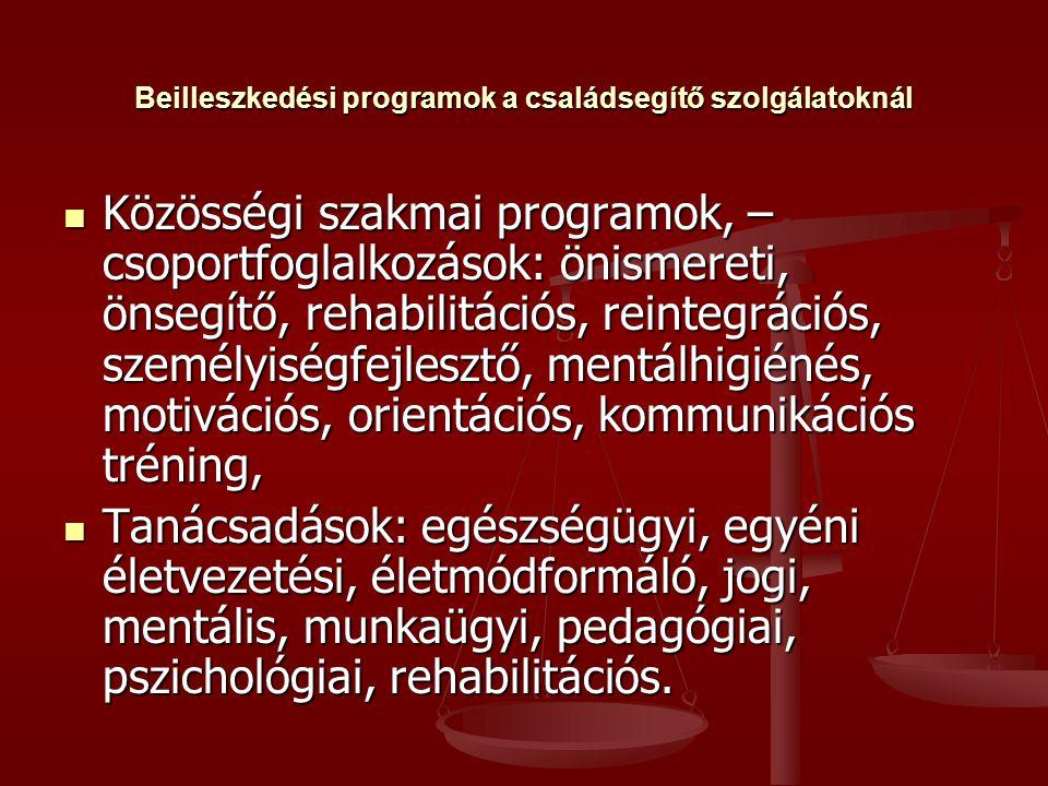 Beilleszkedési programok a családsegítő szolgálatoknál  Közösségi szakmai programok, – csoportfoglalkozások: önismereti, önsegítő, rehabilitációs, reintegrációs, személyiségfejlesztő, mentálhigiénés, motivációs, orientációs, kommunikációs tréning,  Tanácsadások: egészségügyi, egyéni életvezetési, életmódformáló, jogi, mentális, munkaügyi, pedagógiai, pszichológiai, rehabilitációs.