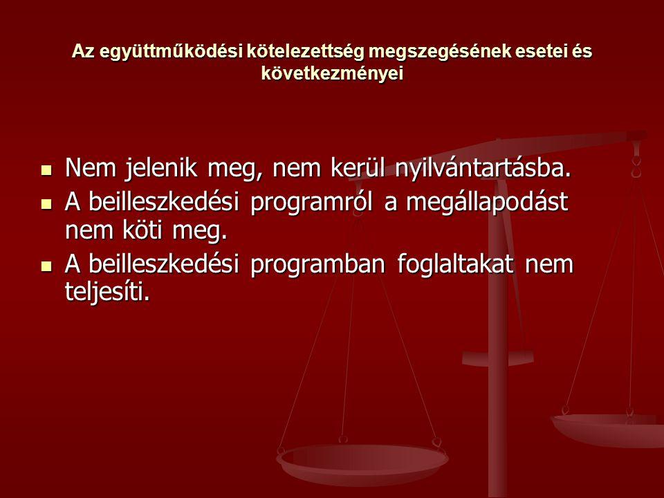 Az együttműködési kötelezettség megszegésének esetei és következményei  Nem jelenik meg, nem kerül nyilvántartásba.