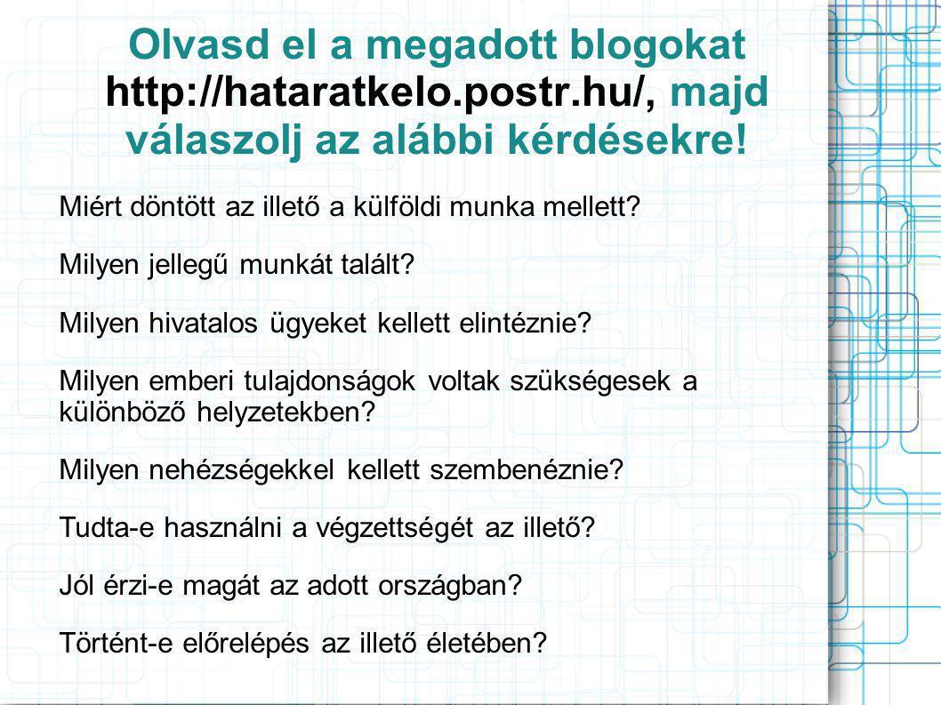 Olvasd el a megadott blogokat http://hataratkelo.postr.hu/, majd válaszolj az alábbi kérdésekre.