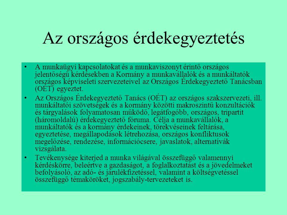 Az országos érdekegyeztetés •A munkaügyi kapcsolatokat és a munkaviszonyt érintő országos jelentőségű kérdésekben a Kormány a munkavállalók és a munká