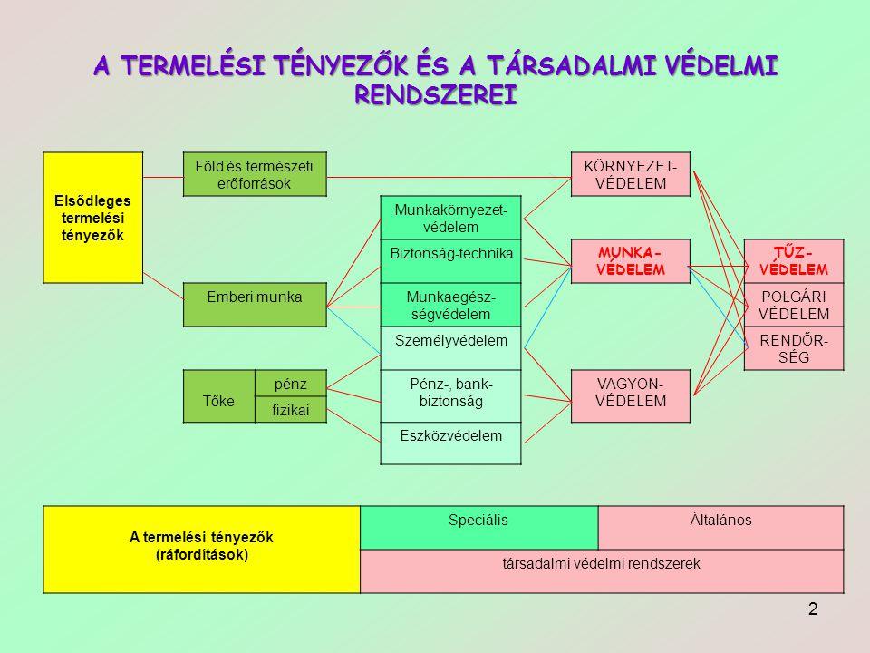 A TERMELÉSI TÉNYEZŐK ÉS A TÁRSADALMI VÉDELMI RENDSZEREI Elsődleges termelési tényezők Föld és természeti erőforrások KÖRNYEZET- VÉDELEM Munkakörnyezet