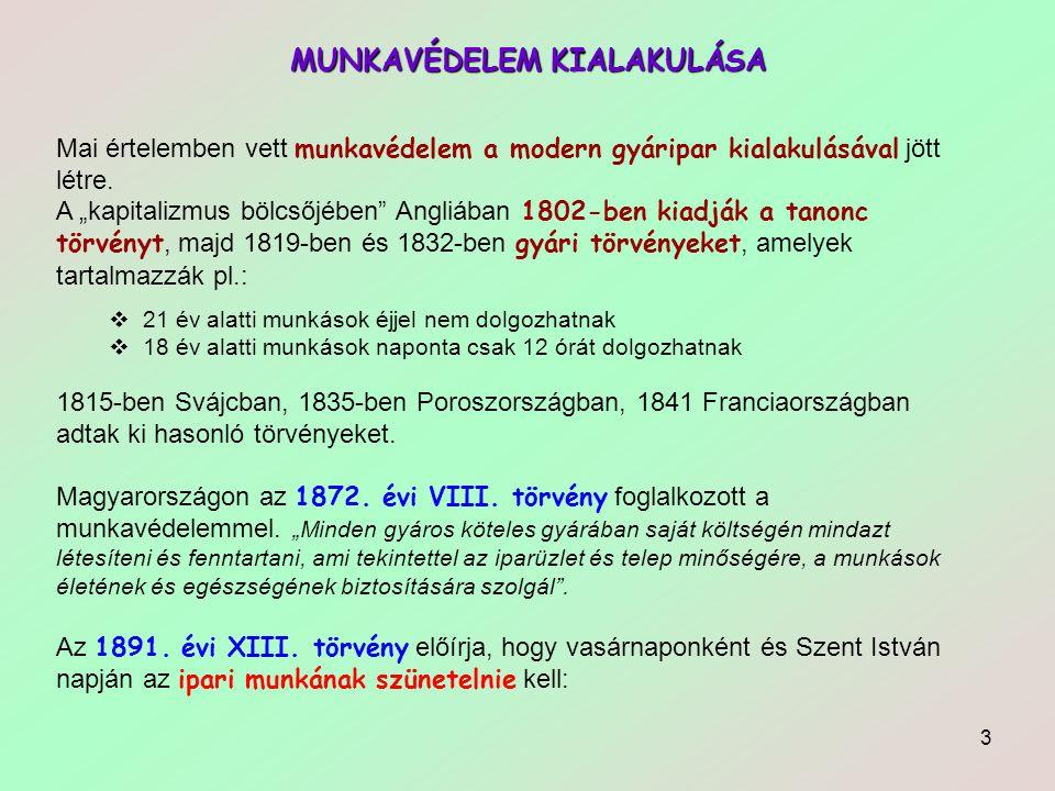 4 MUNKAVÉDELEM KIALAKULÁSA Az 1893 XXVIII.törvény szerint a kiszabható bírság maximum.