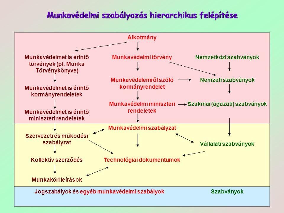 38 Munkavédelmi szabályozás hierarchikus felépítése Alkotmány Munkavédelmet is érintő törvények (pl. Munka Törvénykönyve) Munkavédelmi törvényNemzetkö