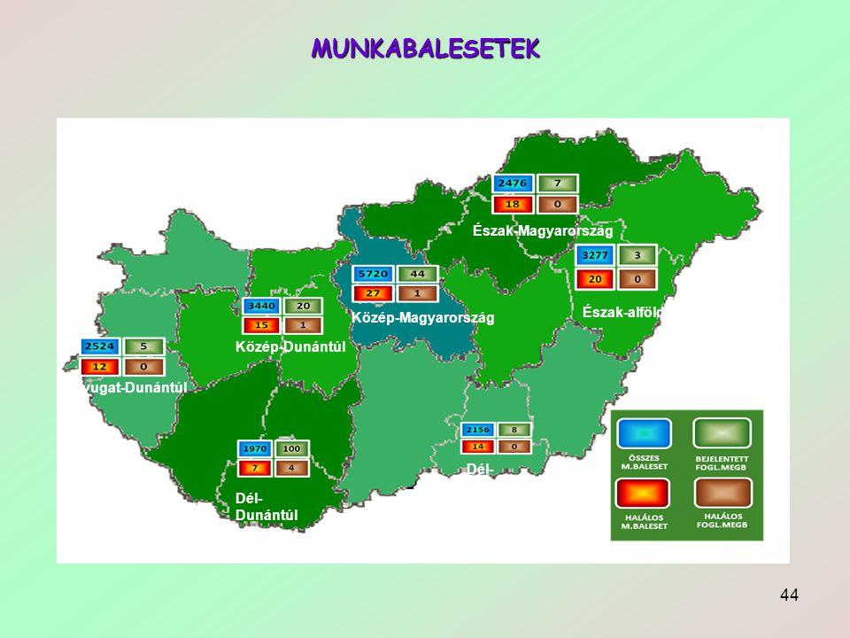 44 MUNKABALESETEK Észak-Magyarország Észak-alföld Közép-Magyarország Közép-Dunántúl Nyugat-Dunántúl Dél- Dunántúl Dél- alföld