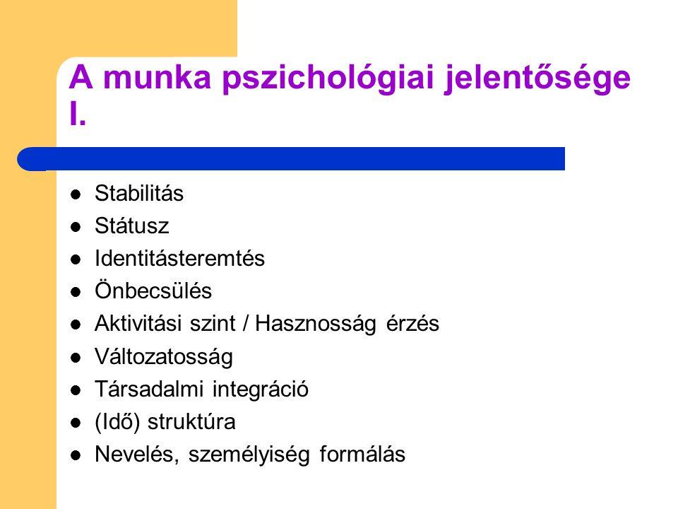  Stabilitás  Státusz  Identitásteremtés  Önbecsülés  Aktivitási szint / Hasznosság érzés  Változatosság  Társadalmi integráció  (Idő) struktúr