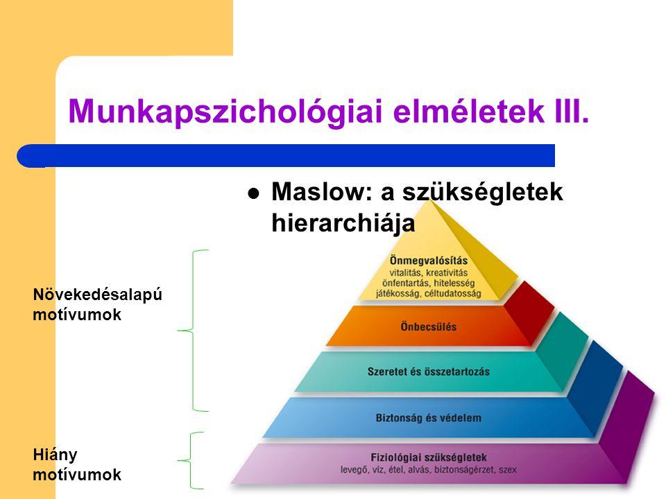  Maslow: a szükségletek hierarchiája Munkapszichológiai elméletek III. Növekedésalapú motívumok Hiány motívumok