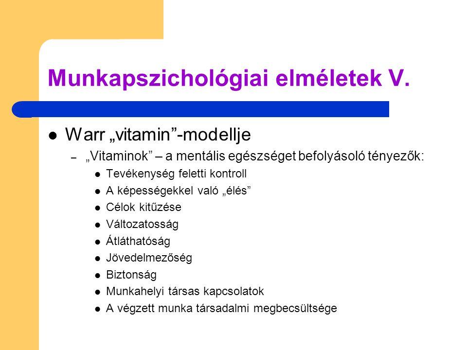 """ Warr """"vitamin""""-modellje – """"Vitaminok"""" – a mentális egészséget befolyásoló tényezők:  Tevékenység feletti kontroll  A képességekkel való """"élés""""  C"""