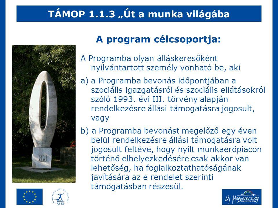 """TÁMOP 1.1.3 """"Út a munka világába A Programba olyan álláskeresőként nyilvántartott személy vonható be, aki a)a Programba bevonás időpontjában a szociális igazgatásról és szociális ellátásokról szóló 1993."""