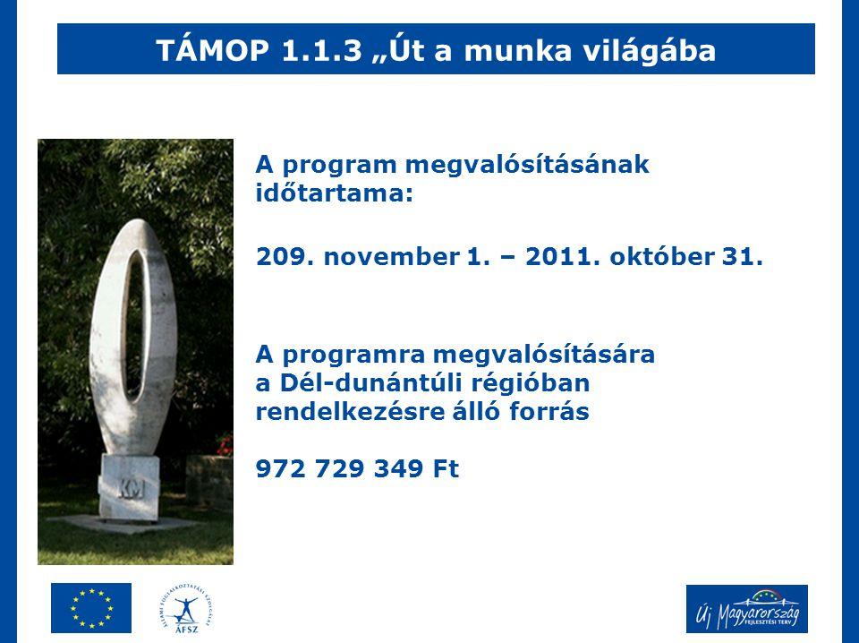 """TÁMOP 1.1.3 """"Út a munka világába A program megvalósításának időtartama: 209."""
