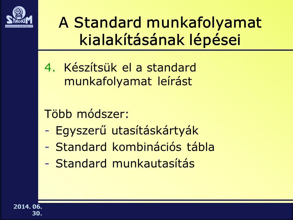 2014.06. 30. A Standard munkafolyamat kialakításának lépései 4.