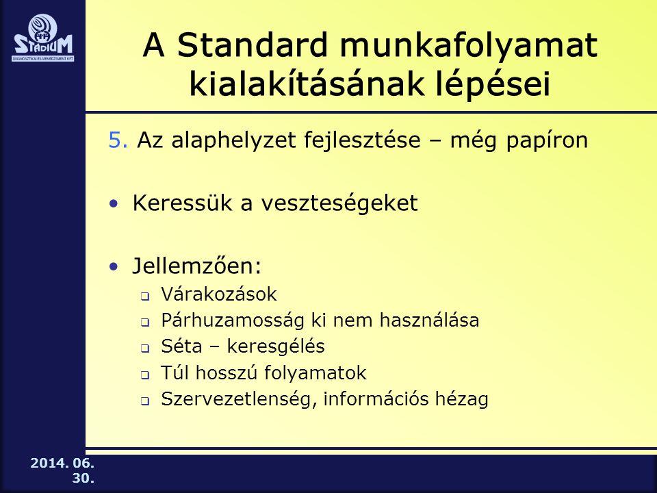 2014.06. 30. A Standard munkafolyamat kialakításának lépései 5.