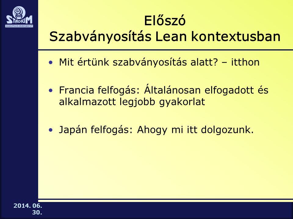 2014.06. 30. Előszó Szabványosítás Lean kontextusban •Mit értünk szabványosítás alatt.