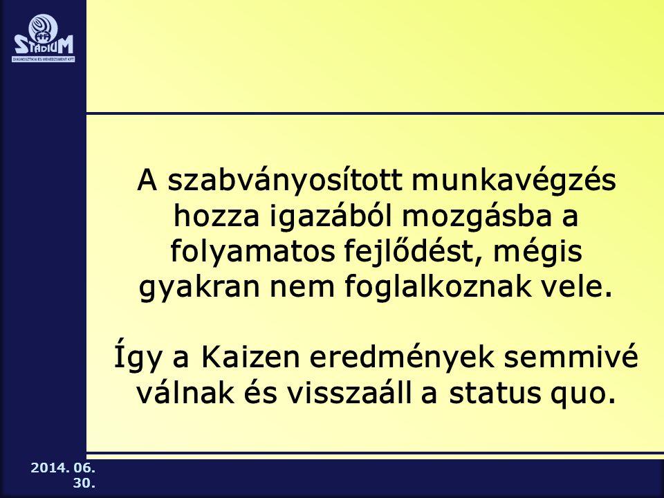 2014.06. 30. A Standard munkafolyamat kialakításának lépései 7.