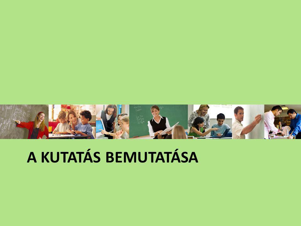 A kutatás koncepciójának alakulása, időbeli ütemezése 2004 Kérdőív és kipróbálása 2005 Interjú és kipróbálása 2006 Szakirodalmi meta-elemzés 2006-07 KUTATÁSI KONCEPCIÓ, ESZKÖZÖK, EREDMÉNYEK (Tanári kérdőív, interjú 31 tanár Tanulói kérdőív 375 diák) 2007-09 Tantárgy- fejlesztés 2009-10 Kipróbálás I.