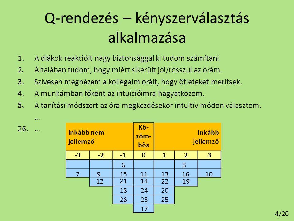 A Q-rendezéssel nyert adatok felhasználása Kezelhető: • Rangsorolt adatként – Korreláció számítás, különbözőség vizsgálat, leíró statisztika, stb.