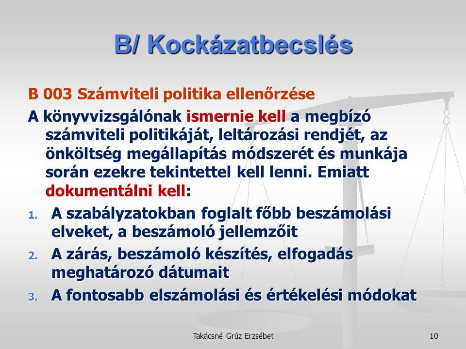 B/ Kockázatbecslés B 003 Számviteli politika ellenőrzése A könyvvizsgálónak ismernie kell a megbízó számviteli politikáját, leltározási rendjét, az ön