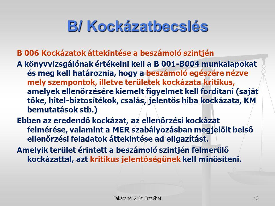 B/ Kockázatbecslés B 006 Kockázatok áttekintése a beszámoló szintjén A könyvvizsgálónak értékelni kell a B 001-B004 munkalapokat és meg kell határozni