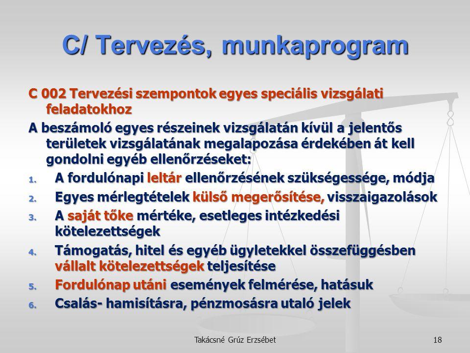 C/ Tervezés, munkaprogram C 002 Tervezési szempontok egyes speciális vizsgálati feladatokhoz A beszámoló egyes részeinek vizsgálatán kívül a jelentős