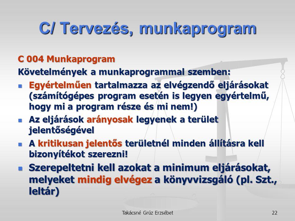 C/ Tervezés, munkaprogram C 004 Munkaprogram Követelmények a munkaprogrammal szemben:  Egyértelműen tartalmazza az elvégzendő eljárásokat (számítógép