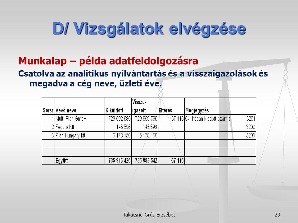 D/ Vizsgálatok elvégzése Munkalap – példa adatfeldolgozásra Csatolva az analitikus nyilvántartás és a visszaigazolások és megadva a cég neve, üzleti é
