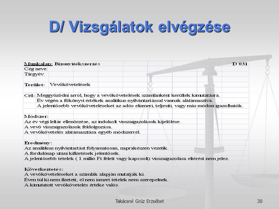 D/ Vizsgálatok elvégzése Takácsné Grúz Erzsébet30
