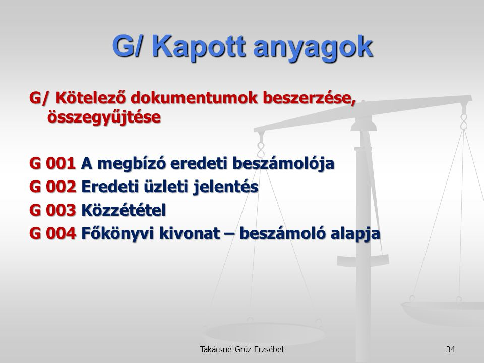 G/ Kapott anyagok G/ Kötelező dokumentumok beszerzése, összegyűjtése G 001 A megbízó eredeti beszámolója G 002 Eredeti üzleti jelentés G 003 Közzététe