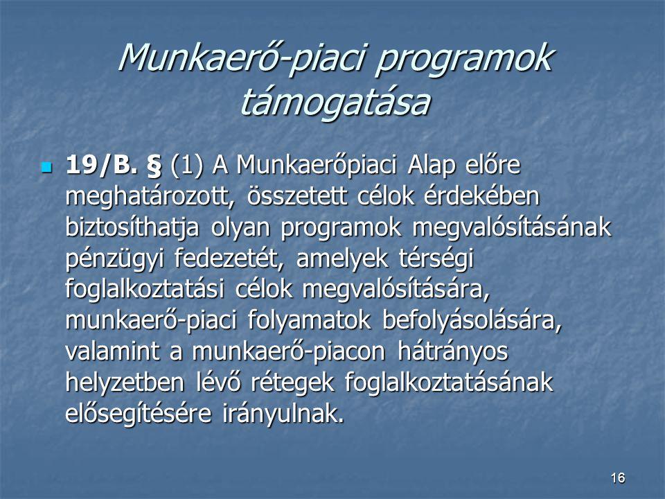 16 Munkaerő-piaci programok támogatása  19/B. § (1) A Munkaerőpiaci Alap előre meghatározott, összetett célok érdekében biztosíthatja olyan programok