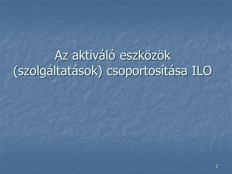2 Az aktiváló eszközök (szolgáltatások) csoportosítása ILO