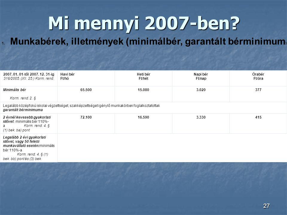 27 Mi mennyi 2007-ben? 1. Munkabérek, illetmények (minimálbér, garantált bérminimum ) 2007. 01. 01-től 2007. 12. 31-ig 316/2005. (XII. 25.) Korm. rend