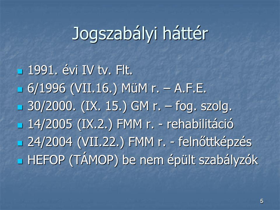 5 Jogszabályi háttér  1991. évi IV tv. Flt.  6/1996 (VII.16.) MüM r. – A.F.E.  30/2000. (IX. 15.) GM r. – fog. szolg.  14/2005 (IX.2.) FMM r. - re