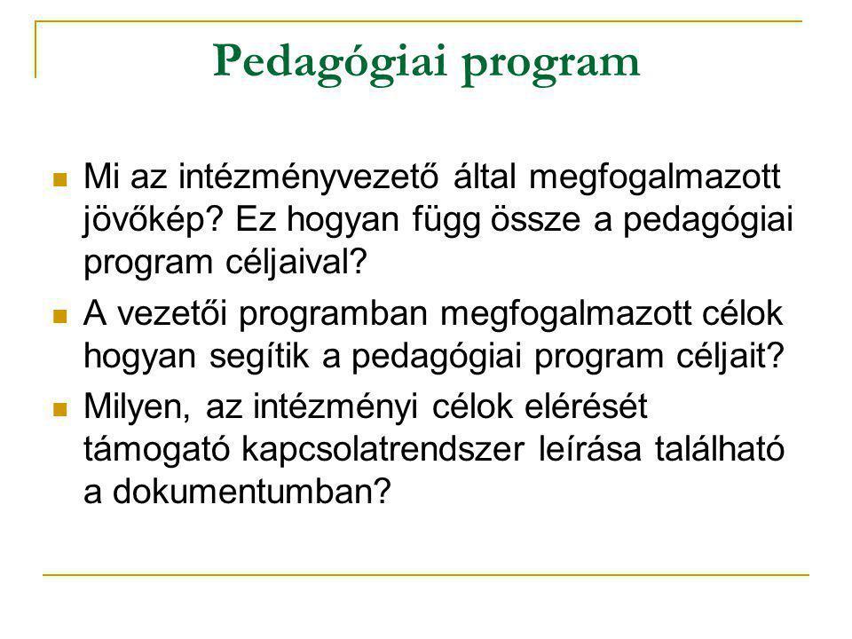 Pedagógiai program  Mi az intézményvezető által megfogalmazott jövőkép? Ez hogyan függ össze a pedagógiai program céljaival?  A vezetői programban m