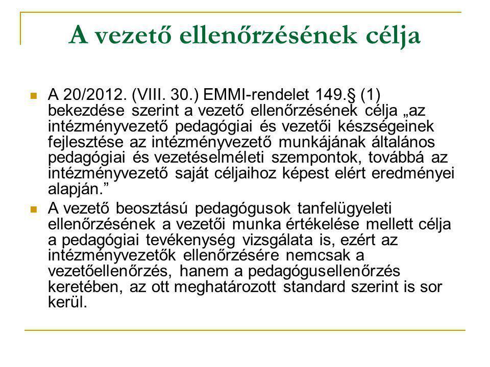 """A vezető ellenőrzésének célja  A 20/2012. (VIII. 30.) EMMI-rendelet 149.§ (1) bekezdése szerint a vezető ellenőrzésének célja """"az intézményvezető ped"""