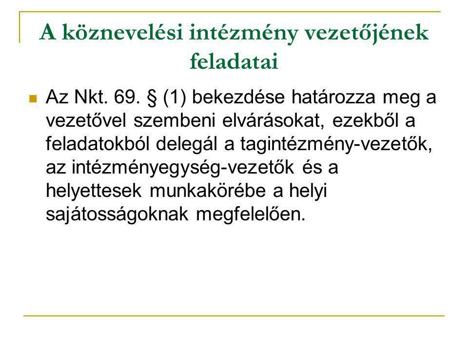 A köznevelési intézmény vezetőjének feladatai  Az Nkt. 69. § (1) bekezdése határozza meg a vezetővel szembeni elvárásokat, ezekből a feladatokból del