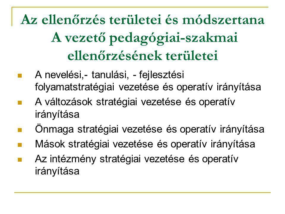 Az ellenőrzés területei és módszertana A vezető pedagógiai-szakmai ellenőrzésének területei  A nevelési,- tanulási, - fejlesztési folyamatstratégiai